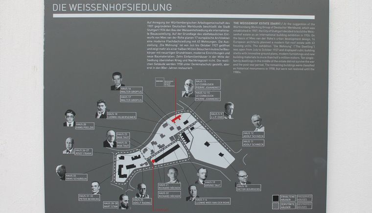 photo wall board with information about the Weissenhofsiedlung
