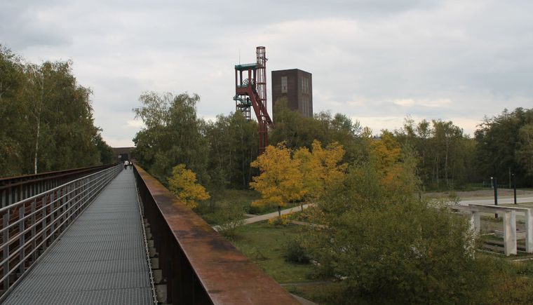 photo steel bridge, trees, meadow and steel construction in the background